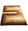 Presto Brown And Beige Polyester Geometrical Shaggy Area Rug