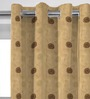 Presto Brown Polyester 108 x 46 Inch Geometric Tissue Embroidered with Lining Long Door Curtain - Set of 2