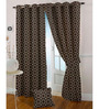 Presto Brown Polyester Geometric Eyelet Curtain - Set of 2