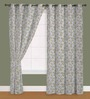 Presto Green Polyester 60 x 40 Inch Floral Eyelet Window Curtain - Set of 2
