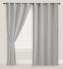 Presto Grey Polyester Solid Door Curtain - Set of 2