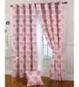 Presto Pink Poly Cotton 47 x 83 Inch Floral Eyelet Door Curtain