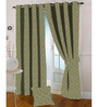 Presto Green Polyester Leafy Jacquard Door Curtain - Set of 2