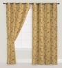 Presto Orange & Gold Floral Window Curtain - Set of 2