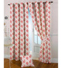 Presto Pink Polyester Floral Eyelet Curtain - Set of 2