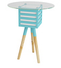 Pride Mellow Round Top Wood & Glass Lamp Table with Blue Accent by SmalShop