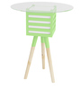 Pride Mellow Round Top Wood & Glass Lamp Table with Green Accent by SmalShop