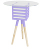 Pride Mellow Round Top Wood & Glass Lamp Table with Purple Accent by SmalShop