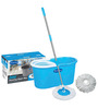 Primeway - Double Driver Economy 360 Rotating Magic Mop & Bucket w/ 2 Microfiber Mop Heads - Blue