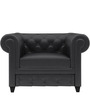 Princeton One Seater Sofa in Peras Bag Black Colour by ARRA