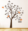 Print Mantras PVC Wall Stickers Beautiful Brown Tree Orange Birds and Cage