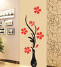 Print Mantras Pvc Wall Stickers Beautiful Vase and Flowers