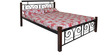 Queen Size Metal Bed With Wooden Posts by FurnitureKraft