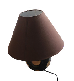 Questioned Thai Round Wooden Electric Table Lamp
