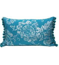 R Home Blue Cotton 20 X 12 Inch Foil Print Cushion Cover