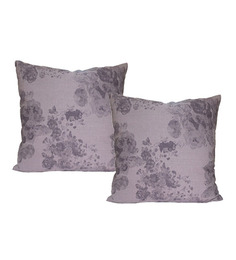 R Home Purple Flower Cushion Covers (Set Of 2 Pcs)