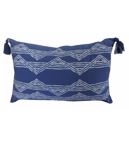 R Home Blue Cotton 20 X 12 Inch Indian Ethnic Cushion Cover - Set Of 2