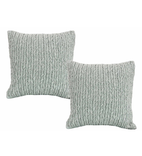 R Home Grey Cotton 20 X 20 Inch Indian Ethnic Cushion Cover - Set Of 2