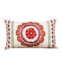 R Home White Cotton 20 x 12 Inch Embroidered Pillow Cover