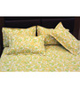 R Home Yellow Nature & Florals Cotton Queen Size Bed Sheets - Set of 5