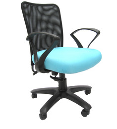 Rado Office Ergonomic Chair in Black & Sky Blue Colour by Chromecraft
