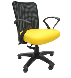 Rado Office Ergonomic Chair in Black & Yellow Colour by Chromecraft