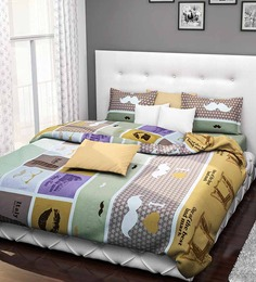 Rago Classic Abstract Green And Brown Double Bed Sheet Set