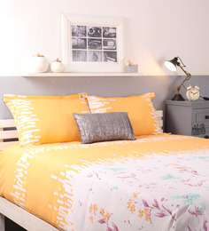 Raymond Home Yellow Cotton Queen Size Bed sheet - Set of 3