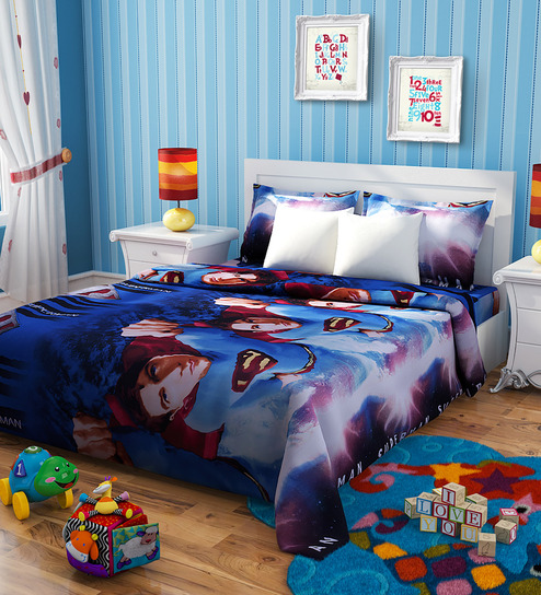 Rago Kids Superman Blue Poly Cotton 90 x 60 Inch Single Bed Sheet (with Pillow Covers)