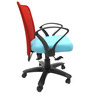 Rado Office Ergonomic Chair in Red & Sky Blue Colour by Chromecraft