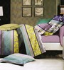 Rago Purple Poly Cotton Striped & Checkered Double Bed Sheet (with Pillow Covers) - Set of 3