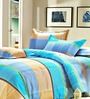 Rago Green Poly Cotton Striped & Checkered Bed Sheet (with Pillow Covers) - Set of 3