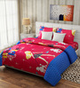 Rago Kids Pop Red & Blue Cotton Princess Double Bedsheet with 2 Pillow Covers
