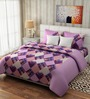 Rago Pop Pink & Purple Cotton Check Bed Sheet Set (with Pillows)