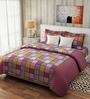 Rago Pop Red & Yellow Cotton Check Bed Sheet Set (with Pillows)