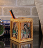 Rajrang Beige & Blue Wooden Lady Gemstone Painted Pen Holder