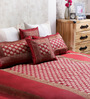 Ramabhakta Reds Indian Ethnic Silk Single Size Bed Sheets - Set of 5