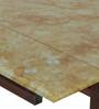 Ramona Glass Top Extendable Dining Set in Ochre & Beige Colour by HomeTown