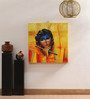 Rang Rage Canvas 16 x 2 x 16 Inch Hand-painted Warming Krishna Musing Stretched Framed Painting