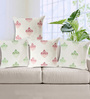 Rang Rage Coral & Green Cotton 16 x 16 Inch Hand-Painted Mughal Cushion Covers - Set of 4