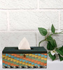 Rang Rage Earthy Patterns Multicolour Wooden Tissue Box