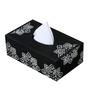 Rang Rage Black And White Wooden Greying Motif Tissue Box Holder