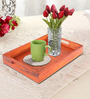 Rang Rage Handpainted Brunt Wood Rectangular Tray
