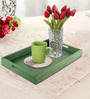 Rang Rage Handpainted Green Wood Rectangle Tray
