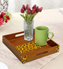 Rang Rage Leopard Brown Wood Square Serving Tray