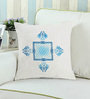 Rang Rage Azure Cotton 16 x 16 Inch Hand-Painted Mughal Cushion Cover