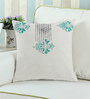 Rang Rage Turquoise Cotton 16 x 16 Inch Hand-Painted Regal Cushion Cover