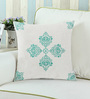 Rang Rage Turquoise Cotton 16 x 16 Inch Handpainted Royal Cushion Cover