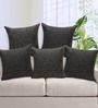 Rang Rage Black Jute 16 x 16 Inch Fest Handcrafted Cushion Covers - Set of 5