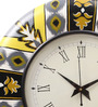 Rang Rage Multicolour MDF 16 Inch Summer Floral Ikat Hand Painted Round Wall Clock